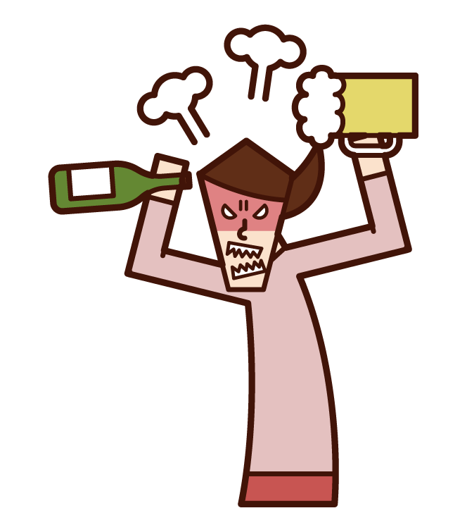 酒癮不好的人·酒亂(女性)的插畫
