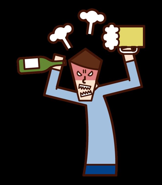 酒癮壞的人·酒亂(男性)的插畫