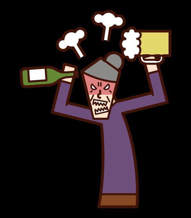 酒癮不好的人·酒亂(奶奶)的插畫