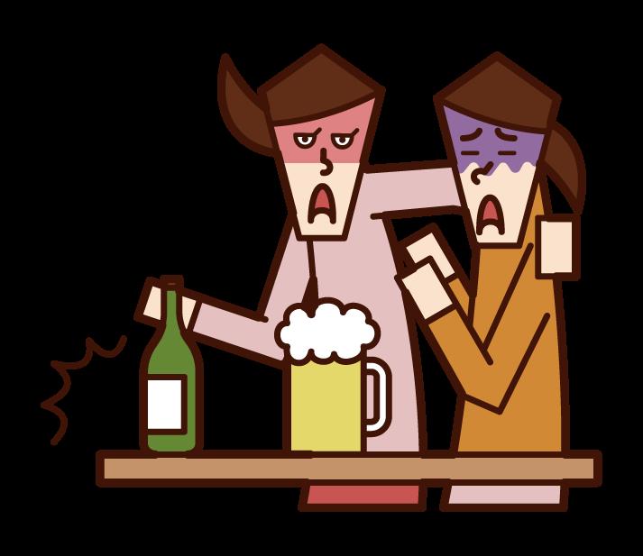 酒精騷擾(女性)插圖