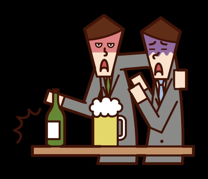 酒精騷擾者(男性)的插圖