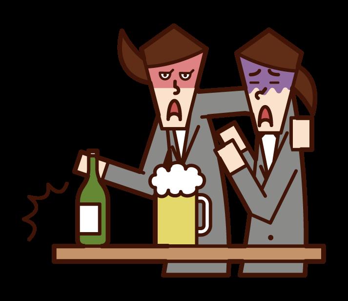 酒精騷擾者(女性)的插圖