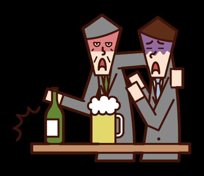 酗酒者(祖父)的插圖