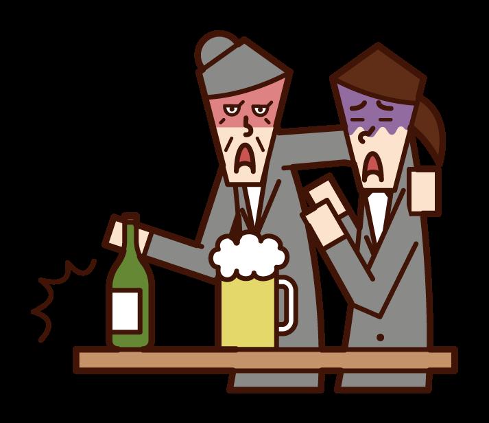 酗酒者(祖母)的插圖