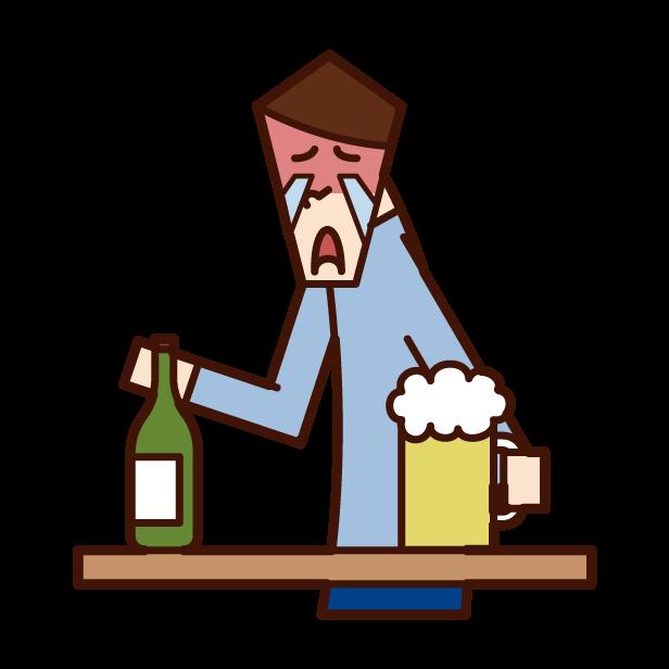 喝著酒的人(男性)的插畫