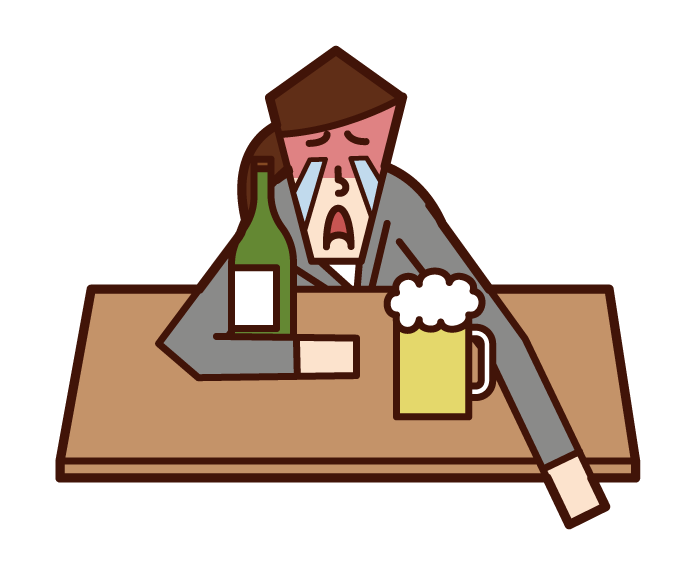 酒後的人(女性)的插圖