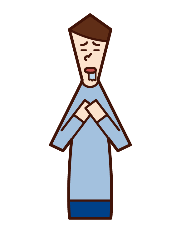 Illustration of a drooling person (male)