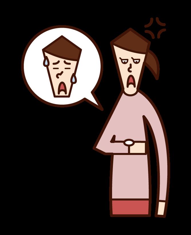 遅刻する人に腹を立てる人(女性)のイラスト