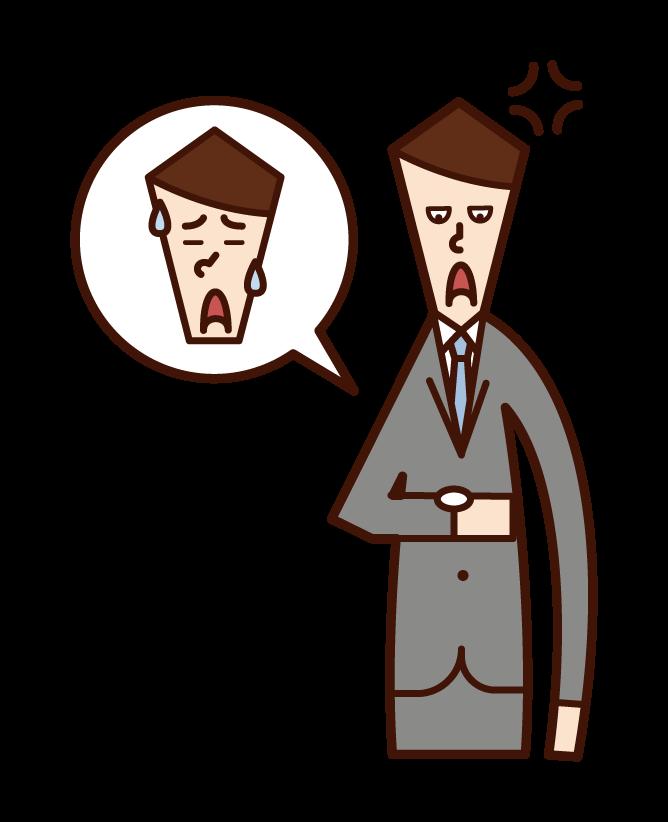 遅刻する人に腹を立てる人(男性)のイラスト