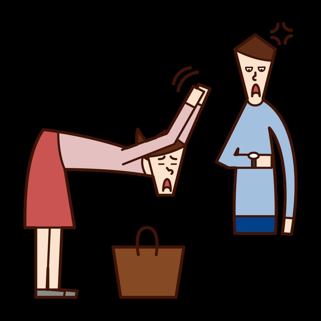 待ち合わせ時間に遅刻をして謝る人(女性)のイラスト