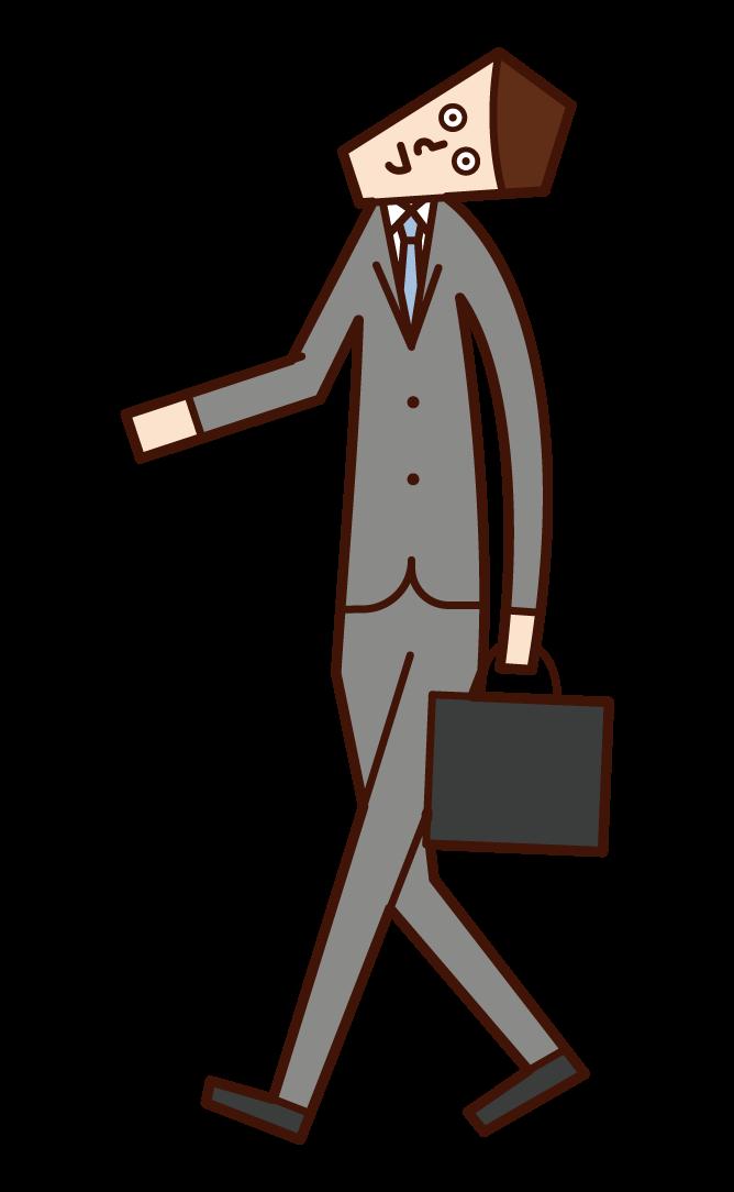 向上行走的人(男性)的插圖