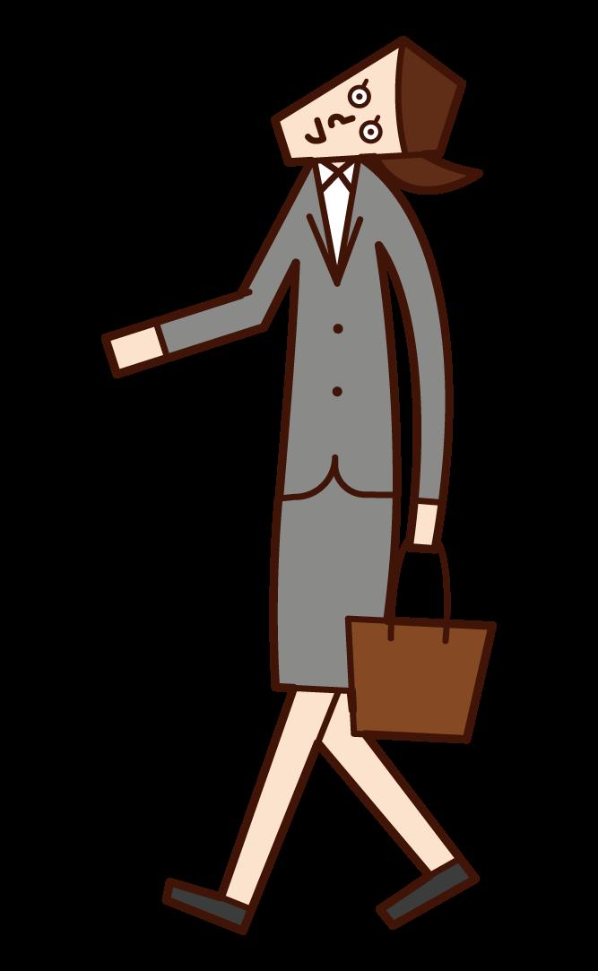 向上行走的人(女性)的插圖