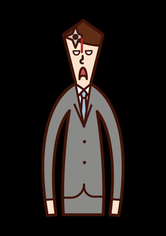 一個人(男性)的插圖,他的額頭上有一把手背劍。