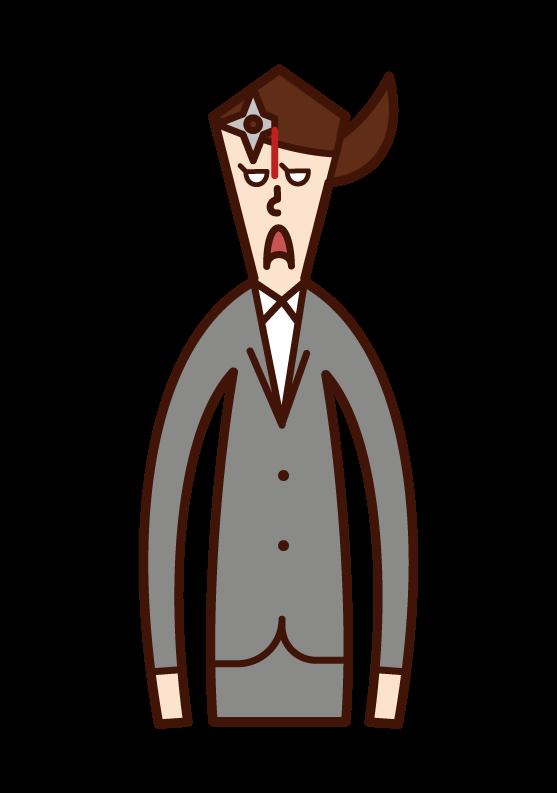 一個人(女人)的插圖,他的額頭上有一把手背劍。