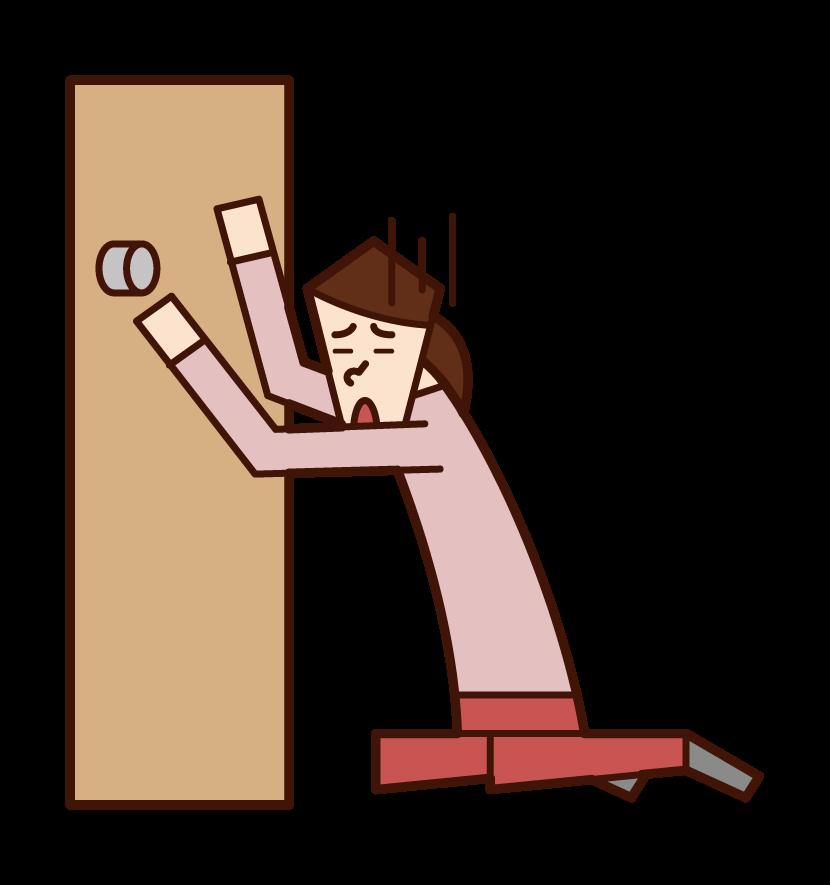 家を閉め出された人(女性)のイラスト