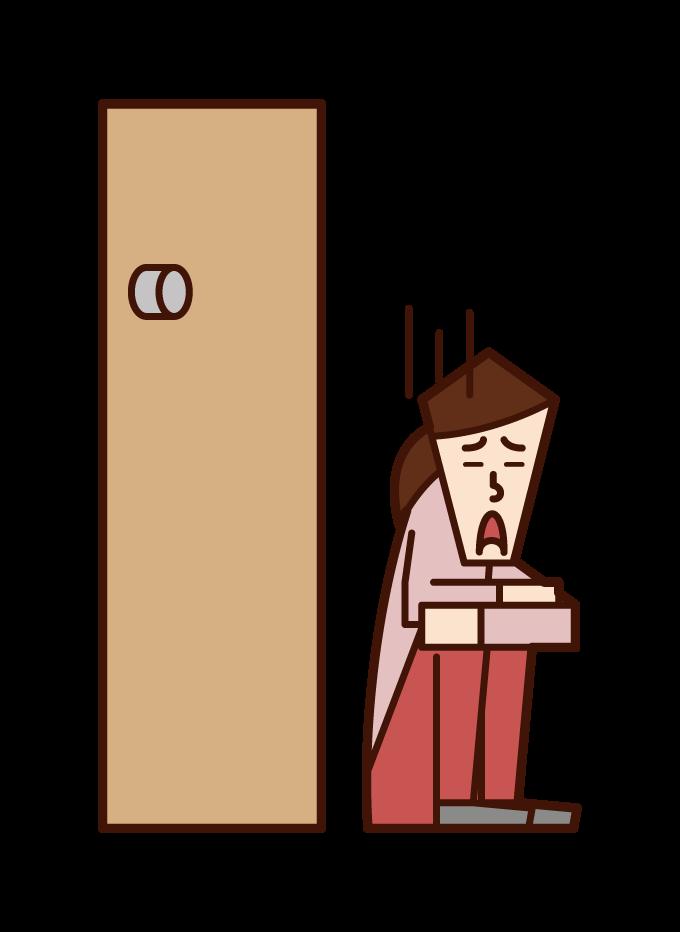 鍵をなくした人(女性)のイラスト