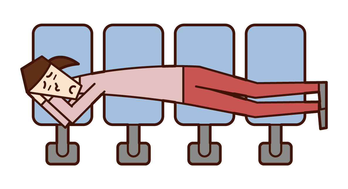 Illustration of a woman sleeping on a station bench