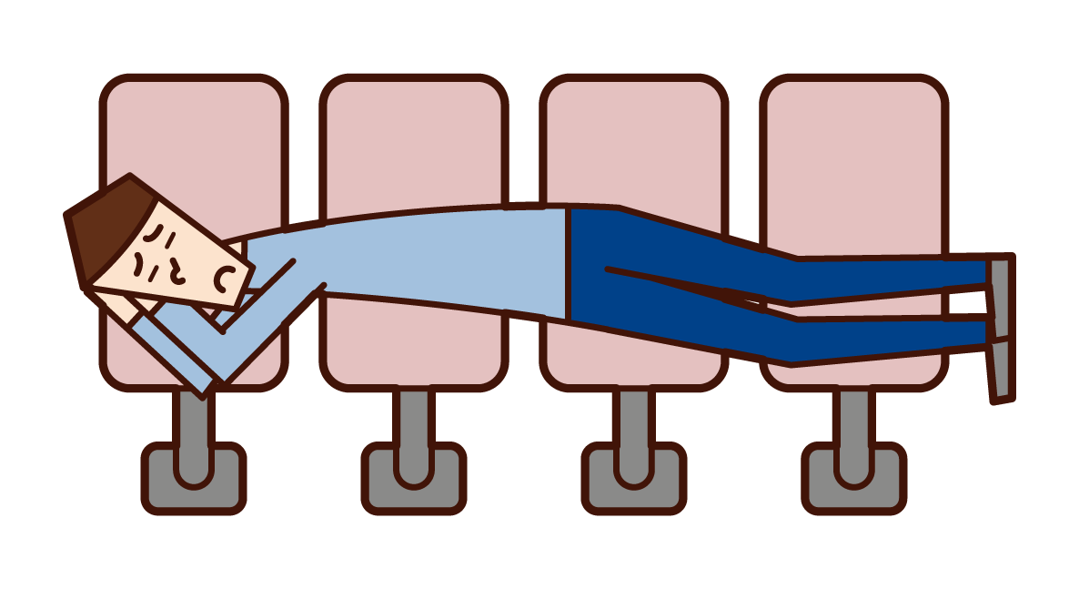 Illustration of a man sleeping on a station bench