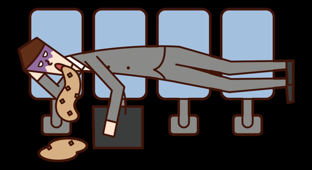 睡在車站長椅上嘔吐的人(男性)的插圖