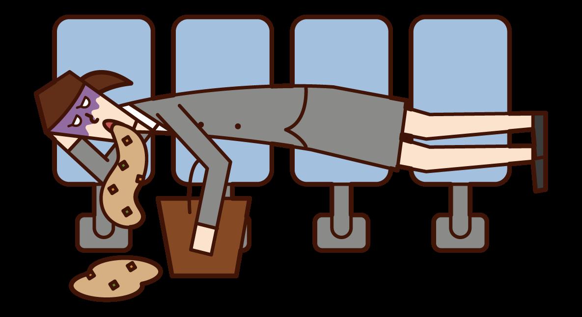 駅のベンチで寝ながら嘔吐する人(女性)のイラスト