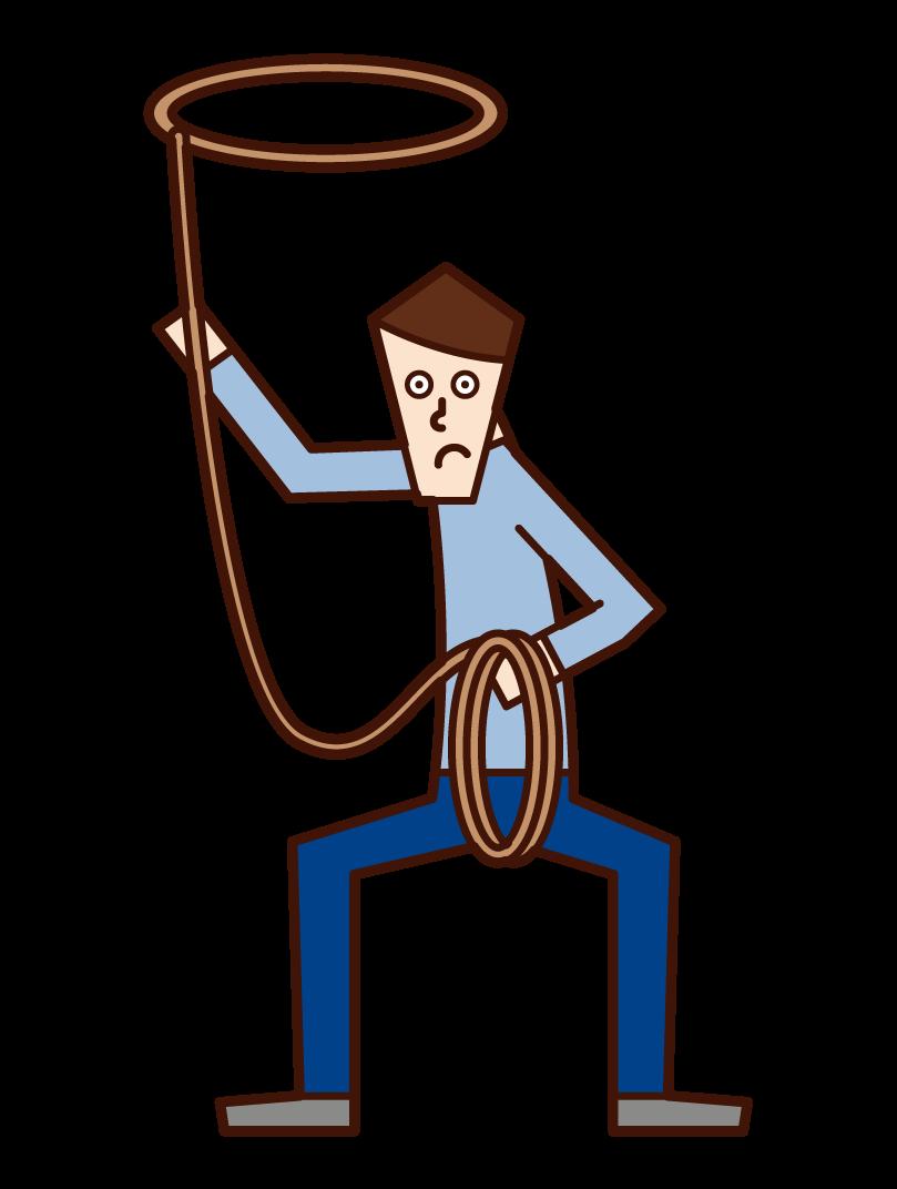 로프를 던지는 사람의 그림