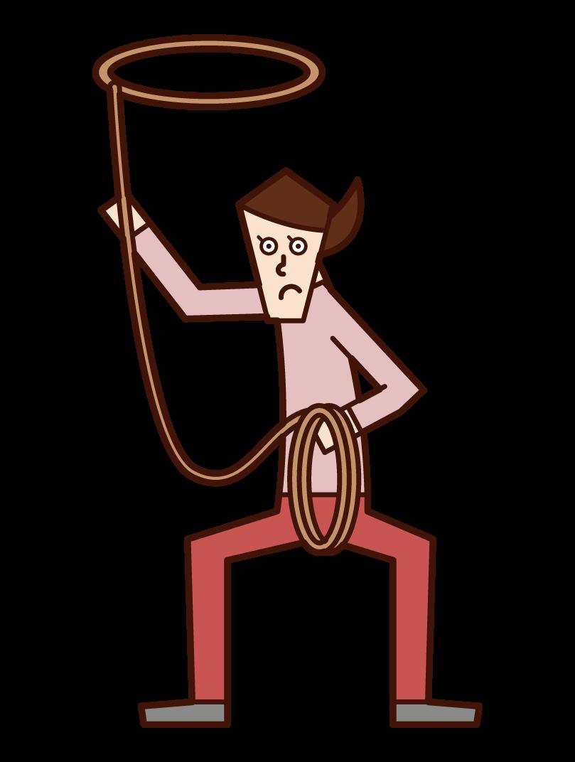 로프를 던지는 사람 (여자)의 그림