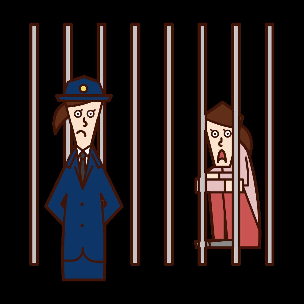 교도소 공무원(여성)은 수감자들의 그림을 감시했다