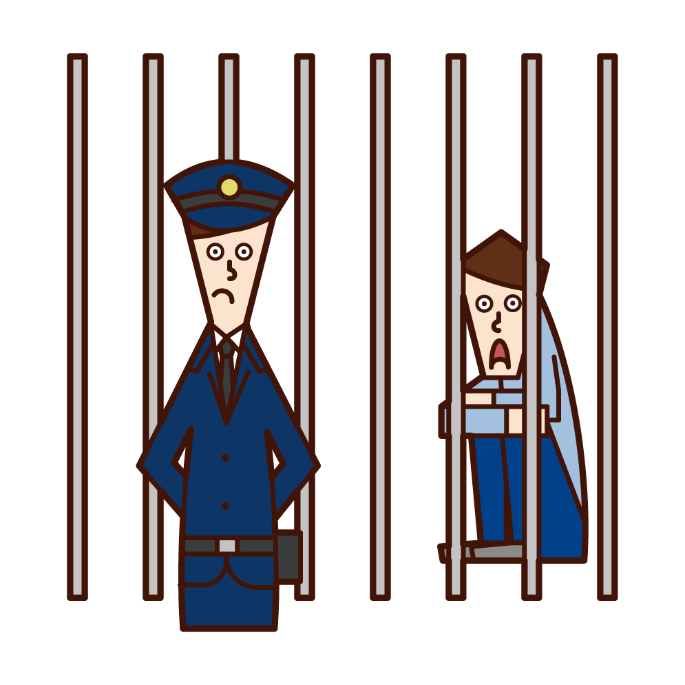 교도소 관리 (남성)는 수감자의 그림을 모니터링합니다