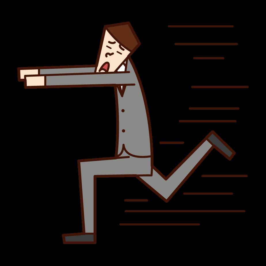 Illustration of a man running away