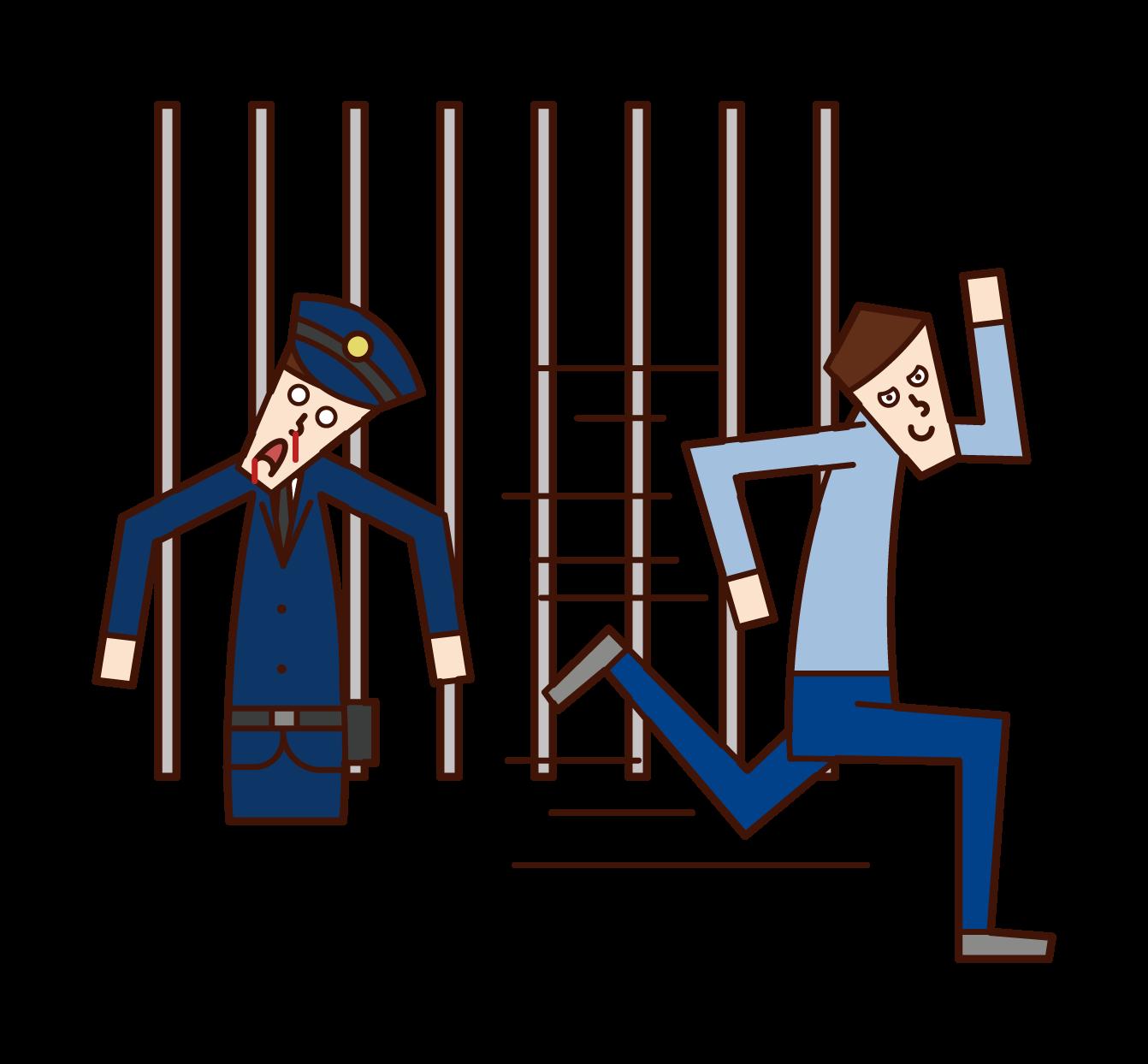 脱獄する犯人・囚人(男性)のイラスト