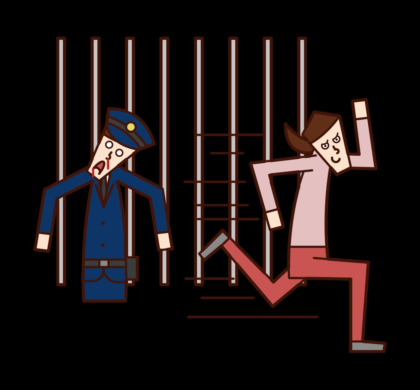 脱獄する犯人・囚人(女性)のイラスト