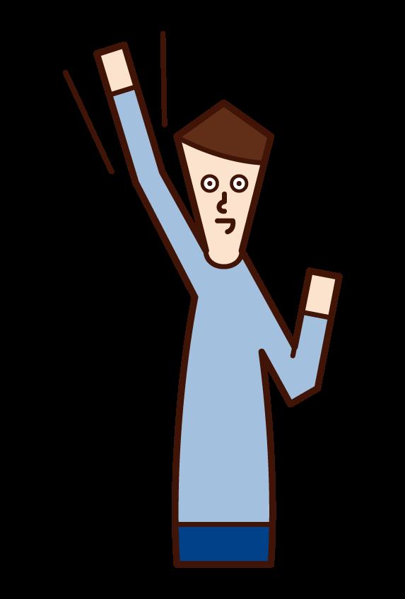 拳を高く上げる人・やる気に満ちた人(男性)のイラスト