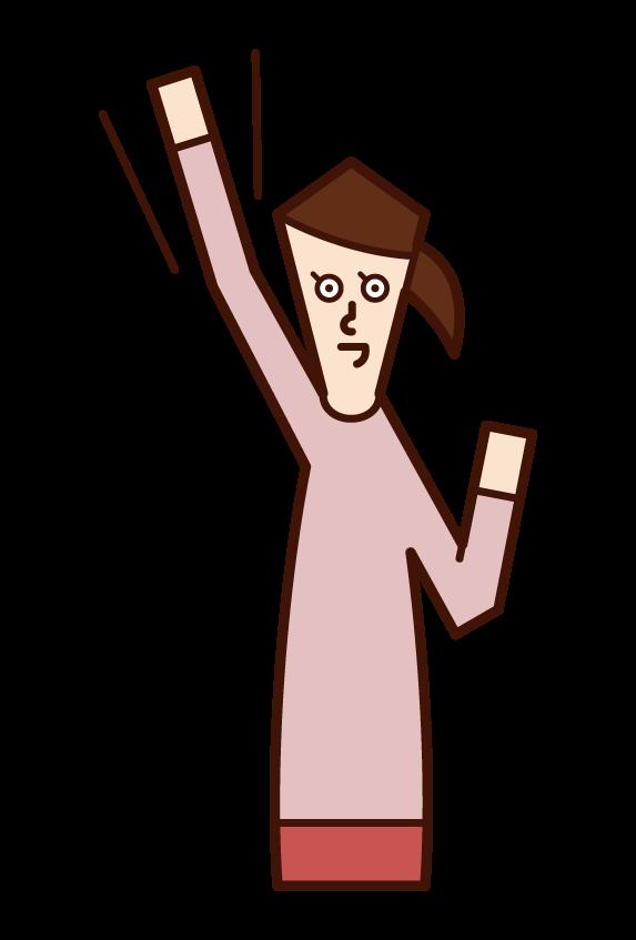 拳を高く上げる人・やる気に満ちた人(女性)のイラスト