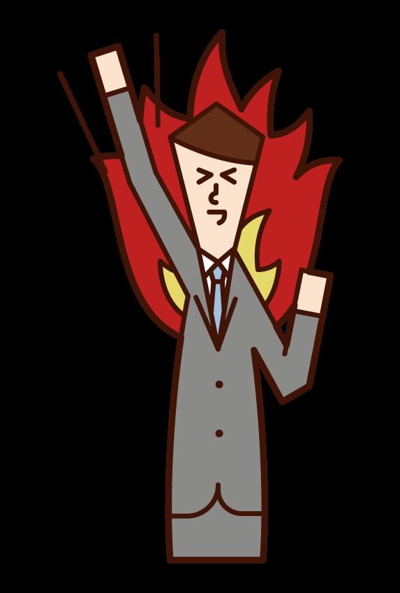 高舉拳頭的人,有動力的人(男性)的插圖
