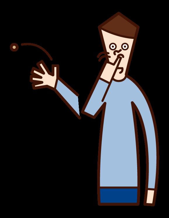鼻くそを飛ばす人(男性)のイラスト