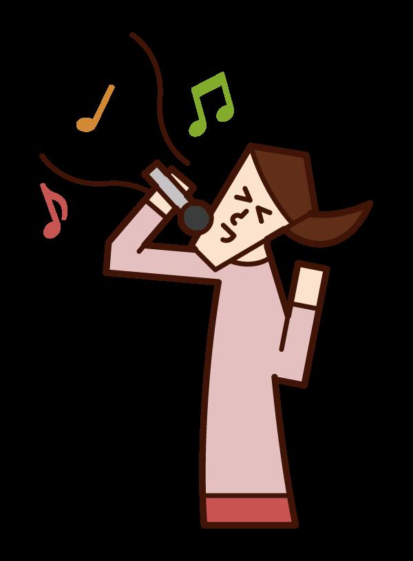 唱歌和享受卡拉OK的人(女性)的插圖