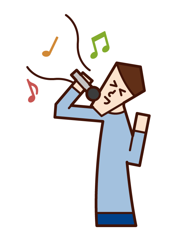 Illustration of a person who sings a song or a person enjoying karaoke (male)