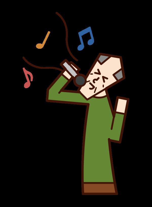唱歌和享受卡拉OK的人的插圖