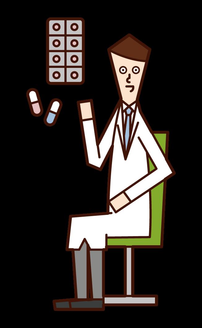 薬を処方する医師(男性)のイラスト