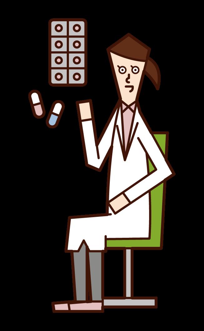 薬を処方する医師(女性)のイラスト