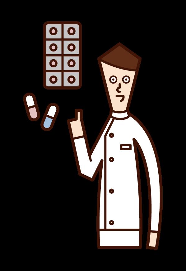 薬を処方する薬剤師(男性)のイラスト
