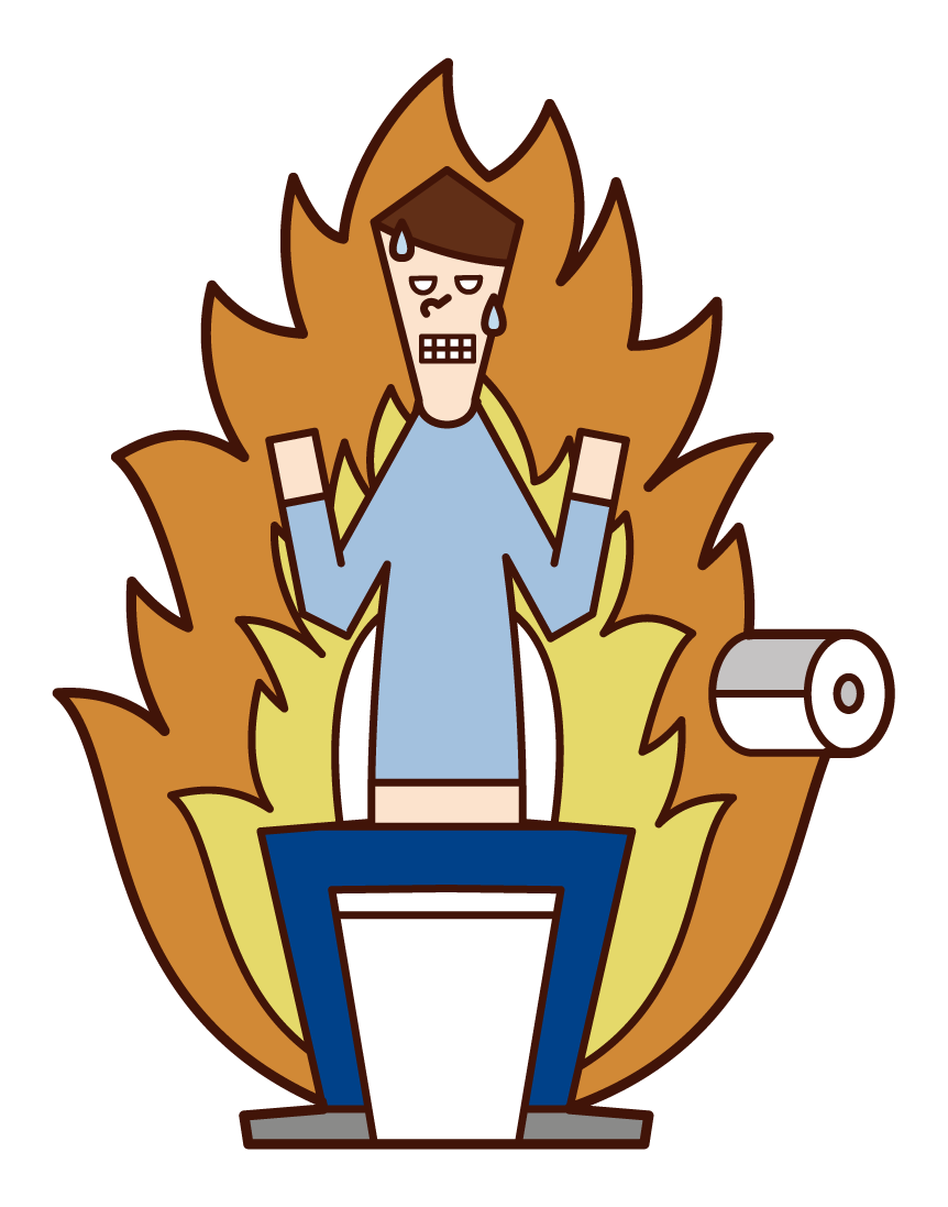 Illustration of a person (male) who is tense in the toilet and constipated