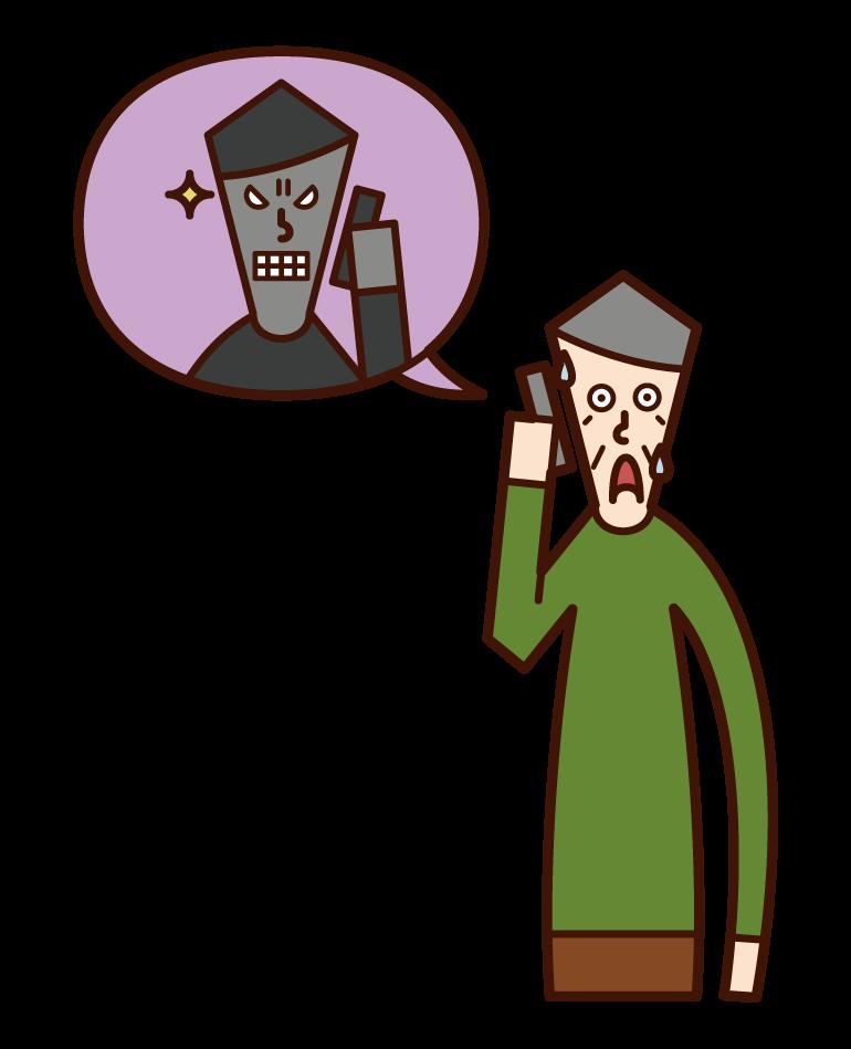 詐欺師に脅される人(おじいさん)のイラスト