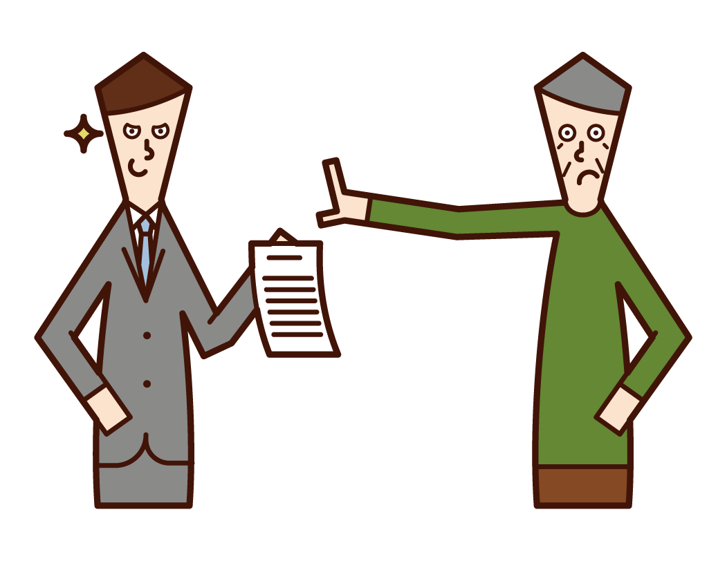 不当な契約書へのサインを拒否する人(おじいさん)のイラスト