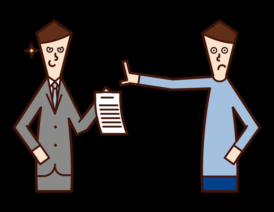 不当な契約書へのサインを拒否する人(男性)のイラスト