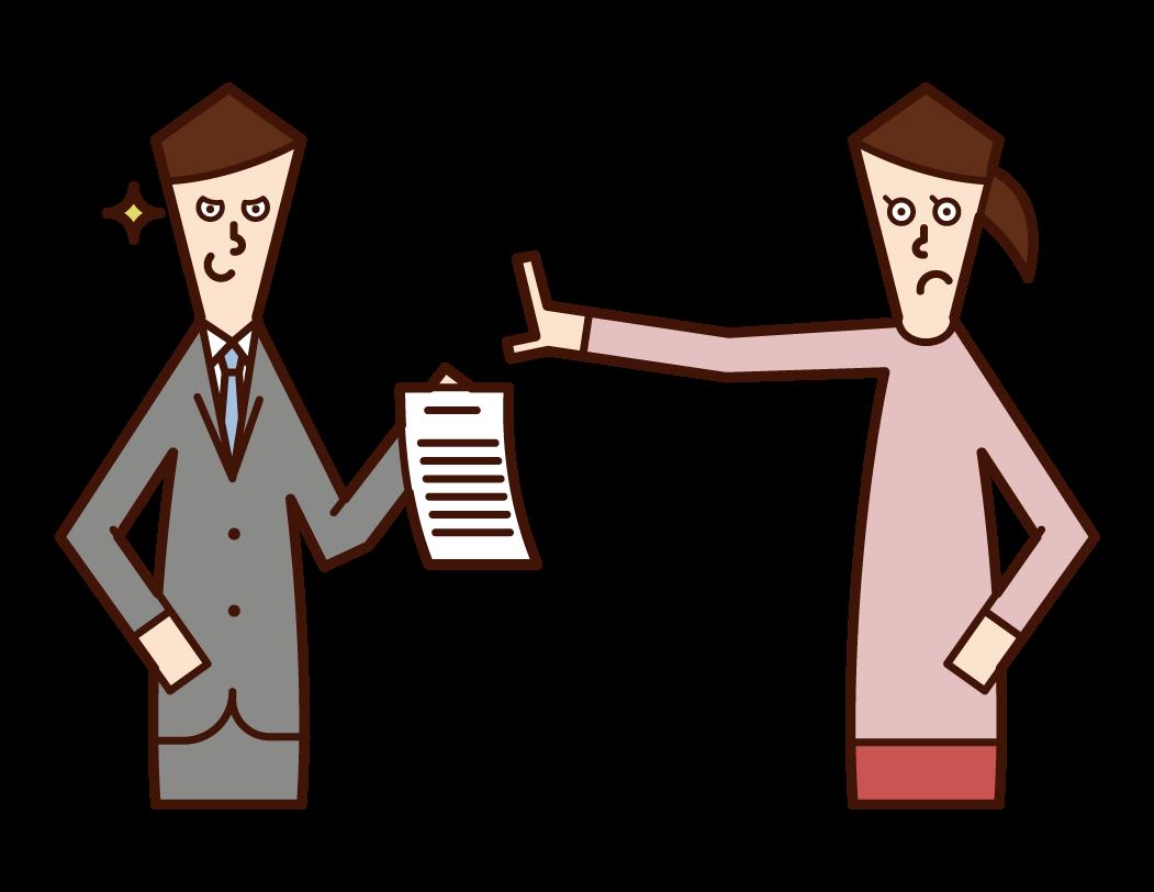 不当な契約書へのサインを拒否する人(女性)のイラスト