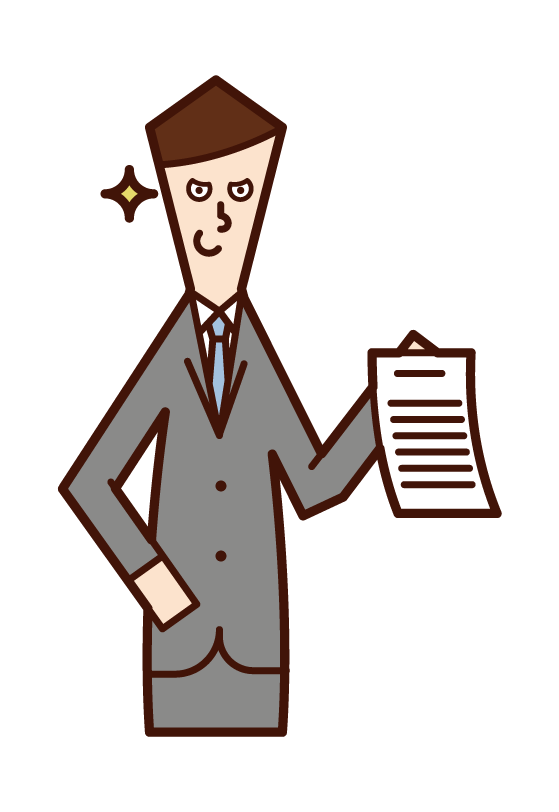 Illustration of a man showing evidence