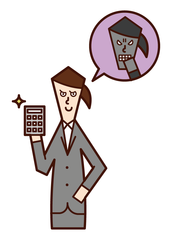 Illustration of a scammer (woman) with a calculator