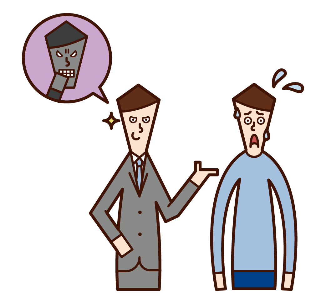 Illustration of a man who is forced to contract by a fraudster