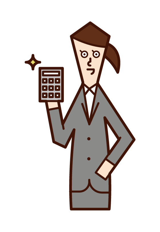 Illustration of a person (female) making an estimate with a calculator